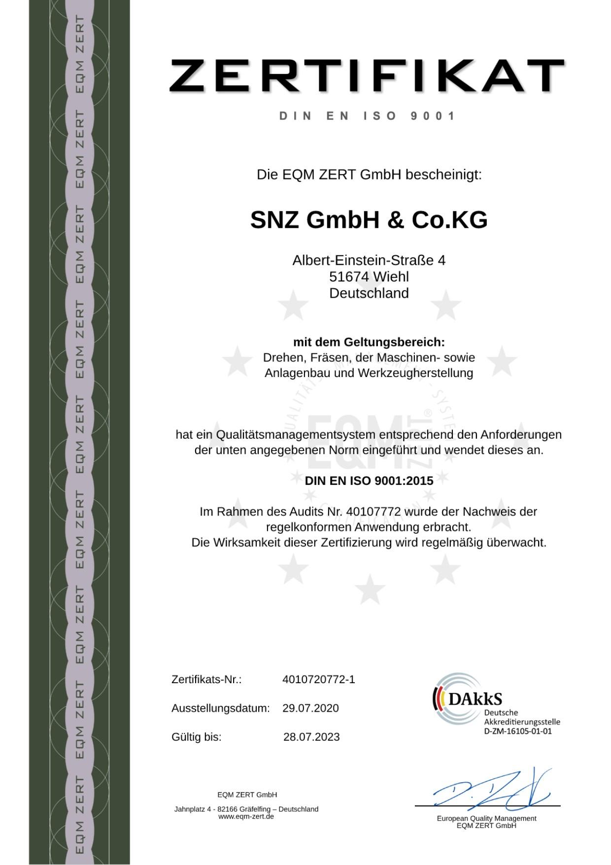SNZerspanungstechnik - Zertifikat DIN EN ISO 9001 - 2021